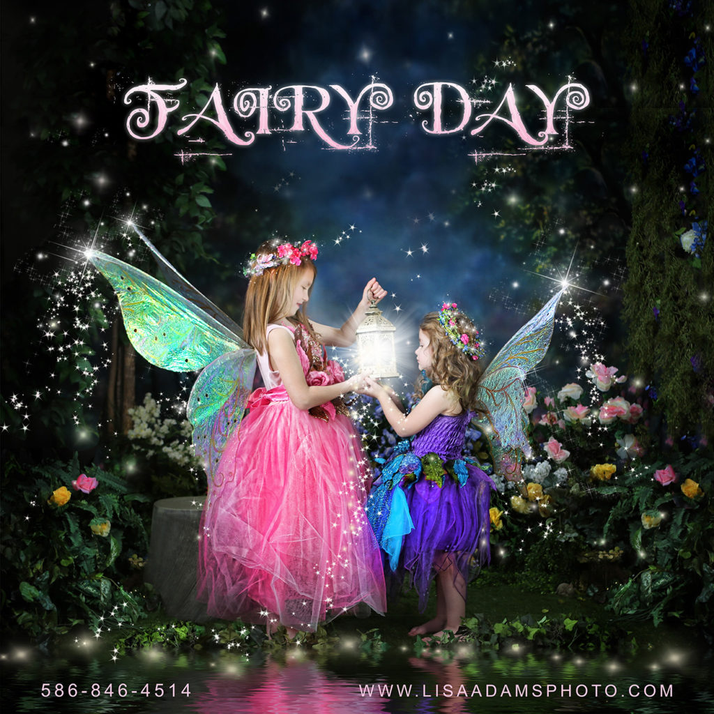 Two fairies in pink and purple dresses with glowing fairy wings standing in front of a lake in a forest looking into a lantern with a fairy glow orb.