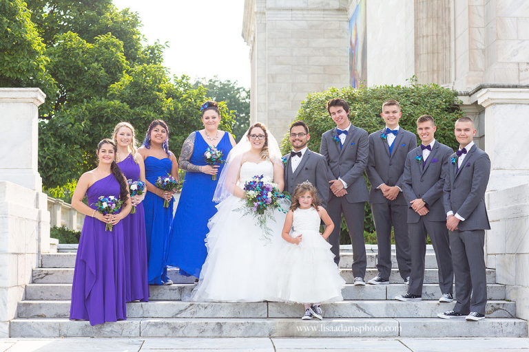 Wedding Party in Purple and Blue with flower girl and converse tennis shoes at Cleveland Museum of Art.